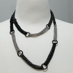 Silver, gray, and black linked chain necklace